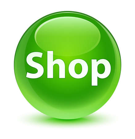 Shop isolated on glassy green round button abstract illustration