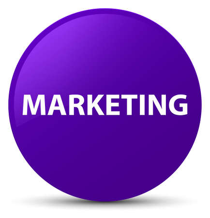 Marketing isolated on purple round button abstract illustration Stock Photo