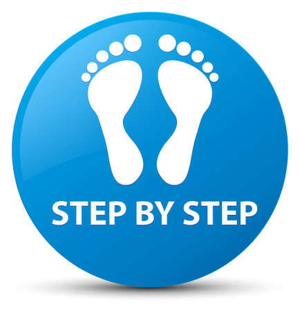 footmark: Step by step (footprint icon) isolated on cyan blue round button abstract illustration Stock Photo