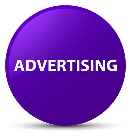 Advertising isolated on purple round button abstract illustration Stock Photo