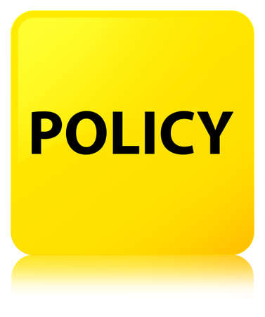 Policy isolated on yellow square button reflected abstract illustration
