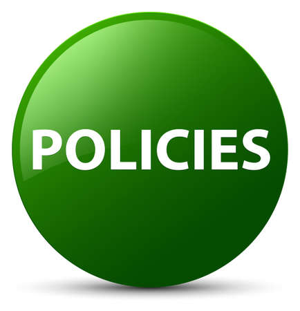Policies isolated on green round button abstract illustration Banco de Imagens