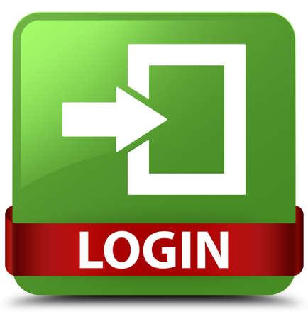 Connexion isolée sur un bouton carré vert doux avec un ruban rouge en illustration abstraite moyenne Banque d'images - 89526425