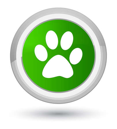 Animal footprint icon isolated on prime green round button abstract illustration