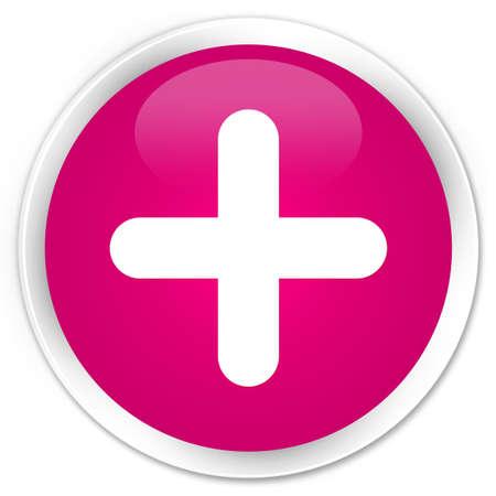 Plus pictogram op abstracte illustratie die van de premie de roze ronde knoop wordt geïsoleerd Stockfoto