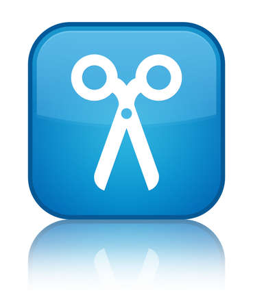 Scissors icon isolated on special cyan blue square button reflected abstract illustration Stock Photo