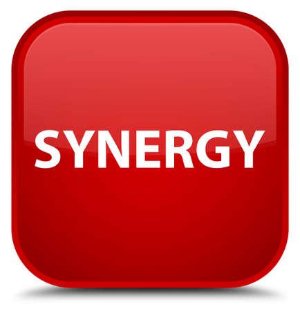 Synergie op speciale rode vierkante knoop abstracte illustratie die wordt geïsoleerd Stockfoto