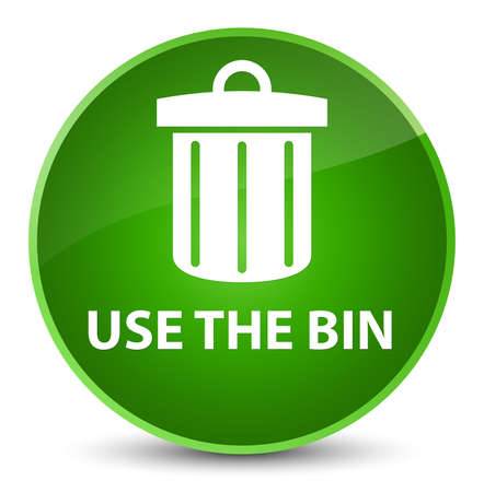 Use the bin (trash icon) isolated on elegant green round button abstract illustration