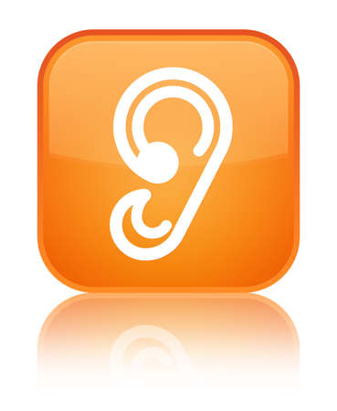 Ear icon isolated on special orange square button reflected abstract illustration