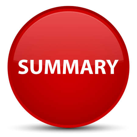 Summary isolated on special red round button abstract illustration Stok Fotoğraf