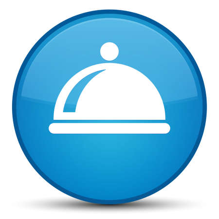 Food dish icon isolated on special cyan blue round button abstract illustration