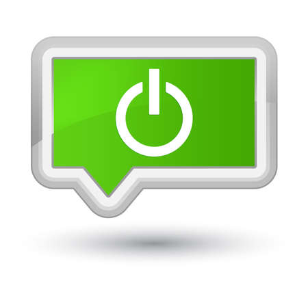 Power icon isolated on prime soft green banner button abstract illustration