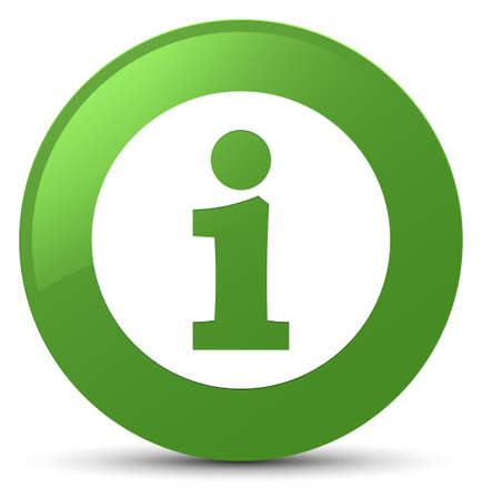 Info icon isolated on soft green round button abstract illustration