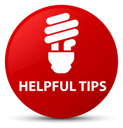 Helpful tips (bulb icon) isolated on red round button abstract illustration