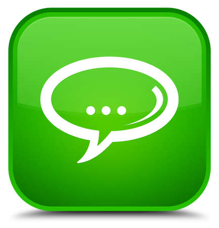 Chat icon isolated on special green square button abstract illustration