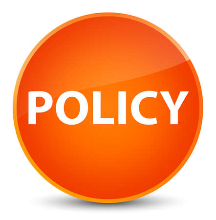 Policy isolated on elegant orange round button abstract illustration Banco de Imagens