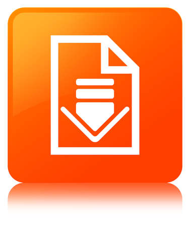 Download document icon isolated on orange square button reflected abstract illustration