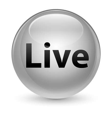 Live isolated on glassy white round button abstract illustration