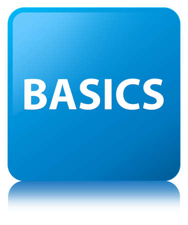 Basics isolated on cyan blue square button reflected abstract illustration Фото со стока