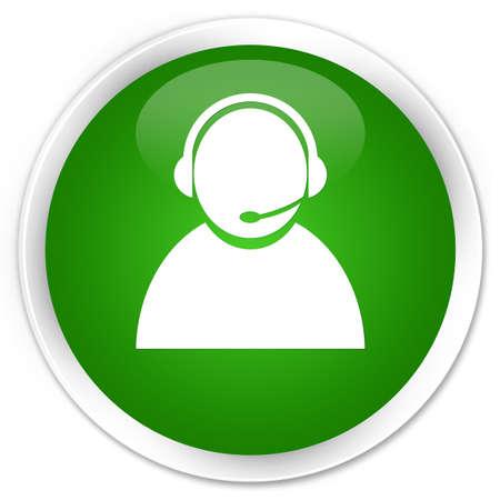 representative: Customer care icon isolated on premium green round button abstract illustration