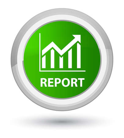 Report (statistics icon) isolated on prime green round button abstract illustration Фото со стока
