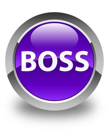 Boss isolated on glossy purple round button abstract illustration