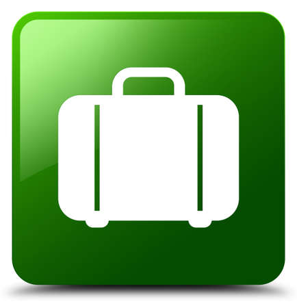 briefcase: Bag icon isolated on green square button abstract illustration
