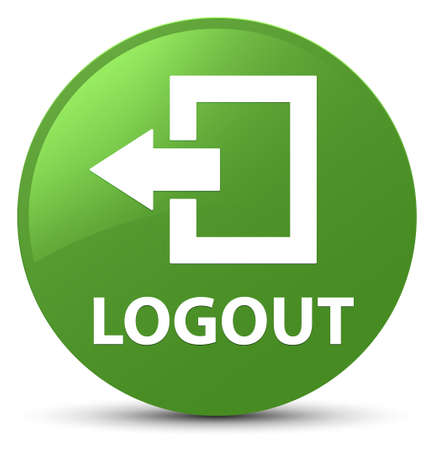 Logout isolated on soft green round button abstract illustration Stock Photo