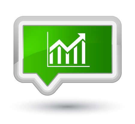 Statistics icon isolated on prime green banner button abstract illustration Stock Photo