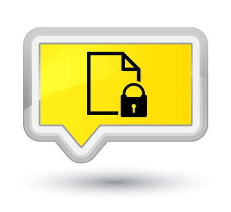 prime: Secure document icon isolated on prime yellow banner button abstract illustration