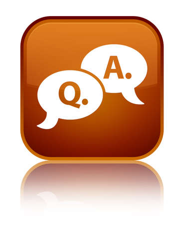Question answer bubble icon isolated on special brown square button reflected abstract illustration