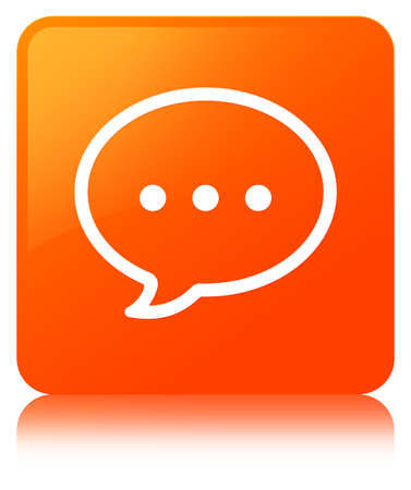 Talk bubble icon isolated on orange square button reflected abstract illustration
