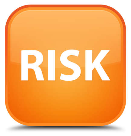 Risk isolated on special orange square button abstract illustration