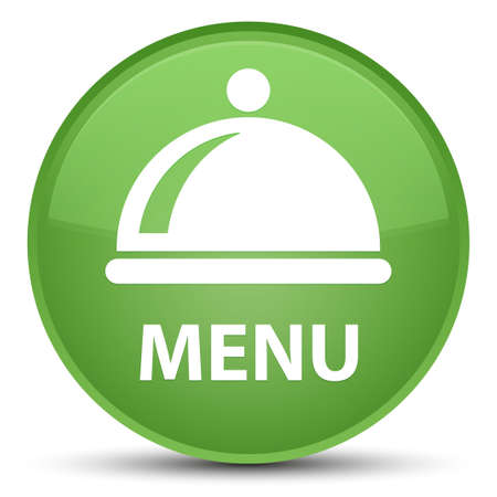 Menu (food dish icon) isolated on special soft green round button abstract illustration