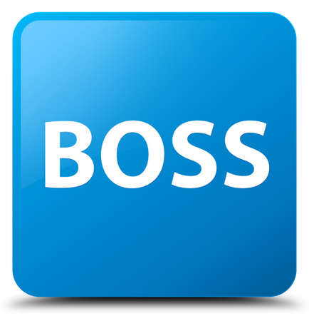 Boss isolated on cyan blue square button abstract illustration