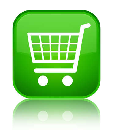Ecommerce icon isolated on special green square button reflected abstract illustration