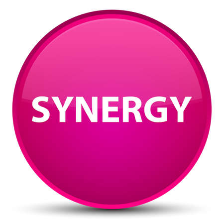 Synergie op speciale roze ronde knoop abstracte illustratie die wordt geïsoleerd Stockfoto