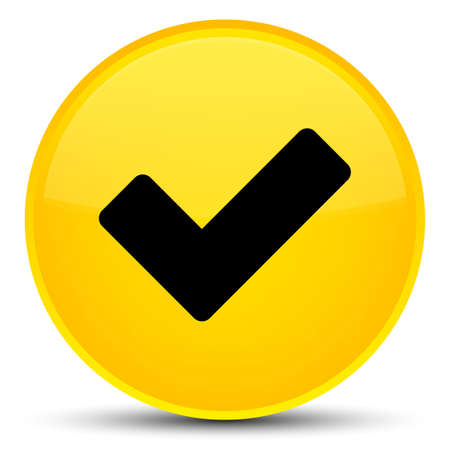 Validate icon isolated on special yellow round button abstract illustration