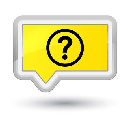 prime: Question icon isolated on prime yellow banner button abstract illustration Stock Photo