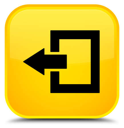 Logout icon isolated on special yellow square button abstract illustration