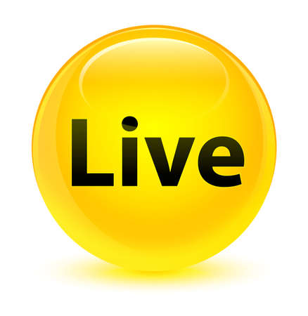 Live isolated on glassy yellow round button abstract illustration
