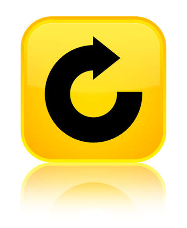 Reply arrow icon isolated on special yellow square button reflected abstract illustration