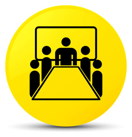 Meeting room icon isolated on yellow round button abstract illustration