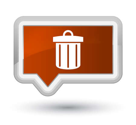 trash container: Recycle bin icon isolated on prime brown banner button abstract illustration