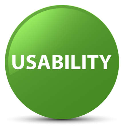 Usability isolated on soft green round button abstract illustration Stock Photo