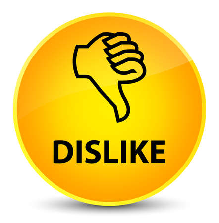 Dislike isolated on elegant yellow round button abstract illustration Stock Photo