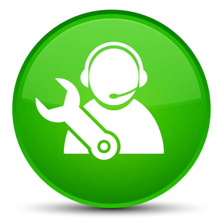 Tech support icon isolated on special green round button abstract illustration
