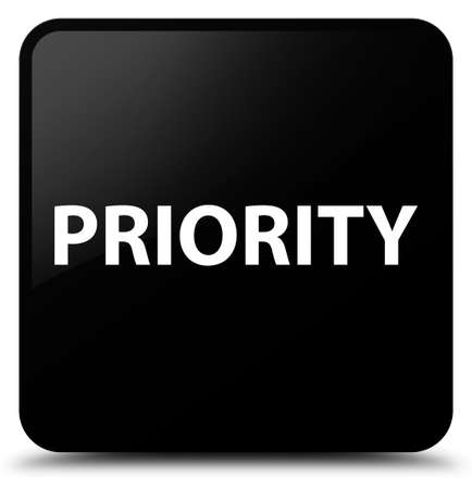 Priority isolated on black square button abstract illustration