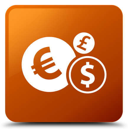 Finances icon isolated on brown square button abstract illustration