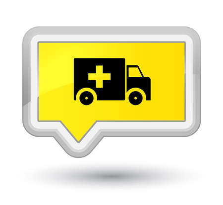 Ambulance icon isolated on prime yellow banner button abstract illustration Stock Photo